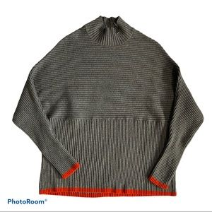 Love & Legend Turtle Neck Knit Gray/Orange Sweater
